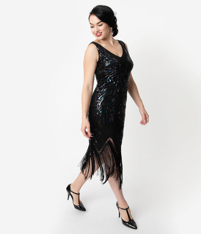 Unique Vintage Black Iridescent Sequin Sleeveless Marion Flapper Dress