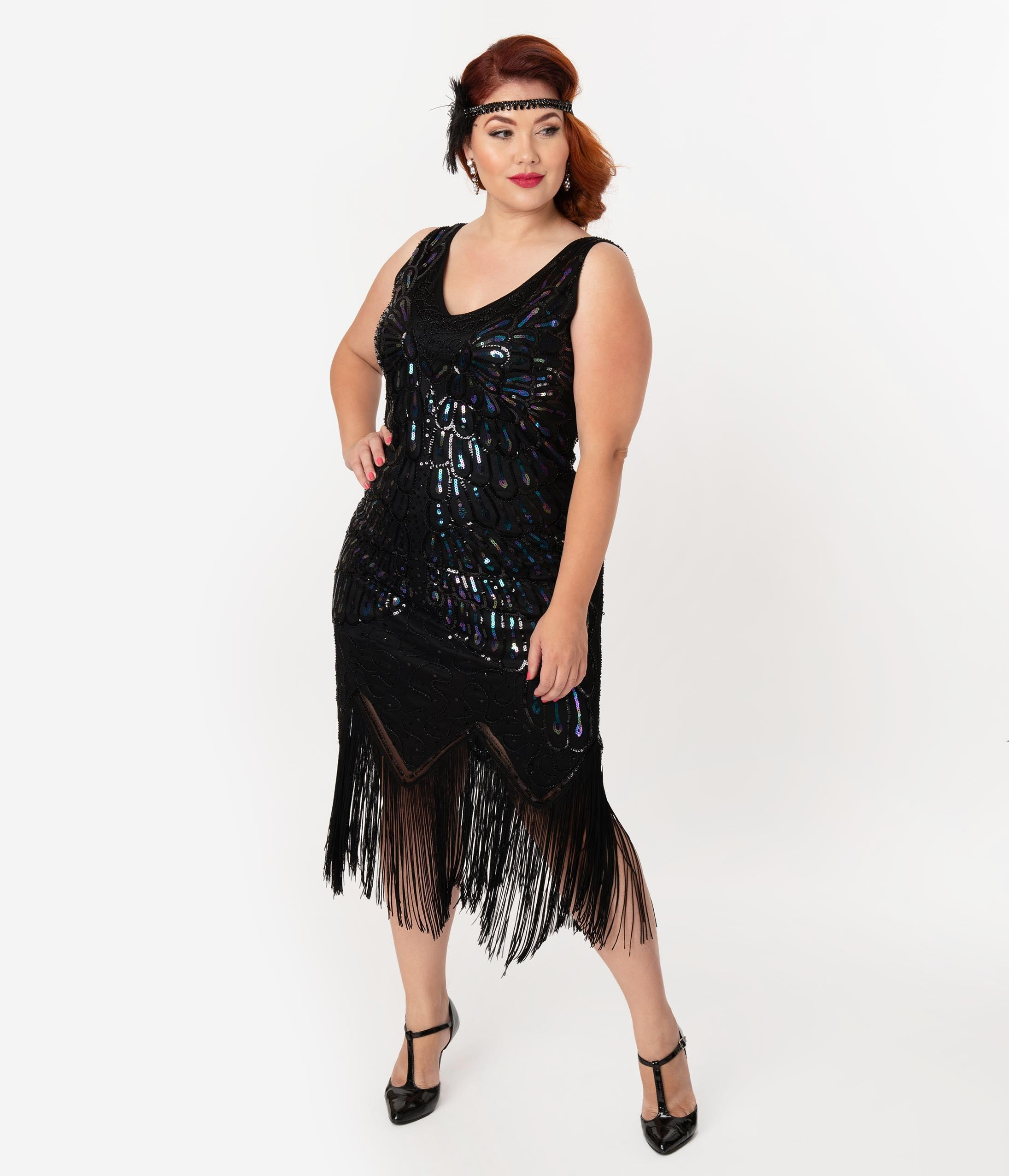 Flapper Dresses & Quality Flapper Costumes Unique Vintage Plus Size Black Iridescent Sequin Sleeveless Marion Flapper Dress $98.00 AT vintagedancer.com