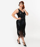 Unique Vintage Plus Size Black Iridescent Sequin Sleeveless Marion Flapper Dress