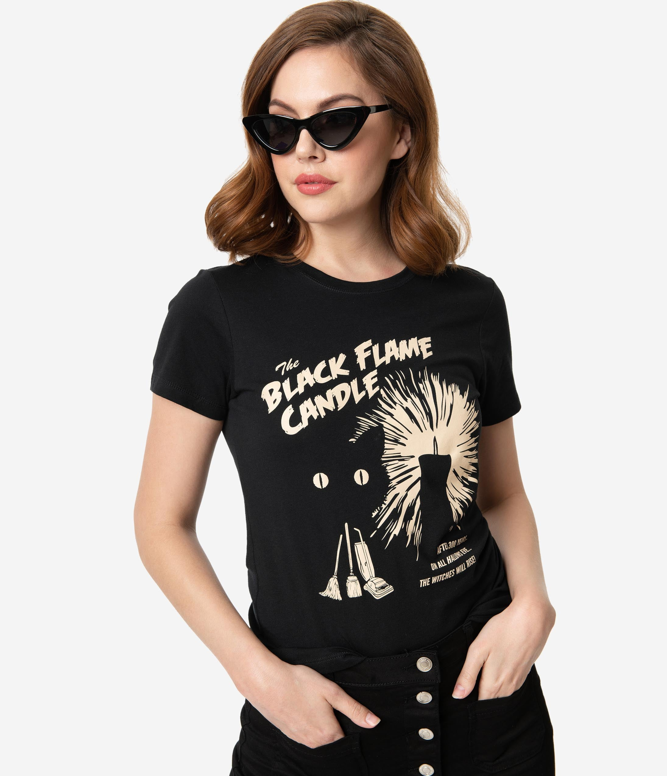 Vintage Retro Halloween Themed Clothing Whosits And Whatsits Black Flame Candle Short Sleeve Womens Tee $32.00 AT vintagedancer.com
