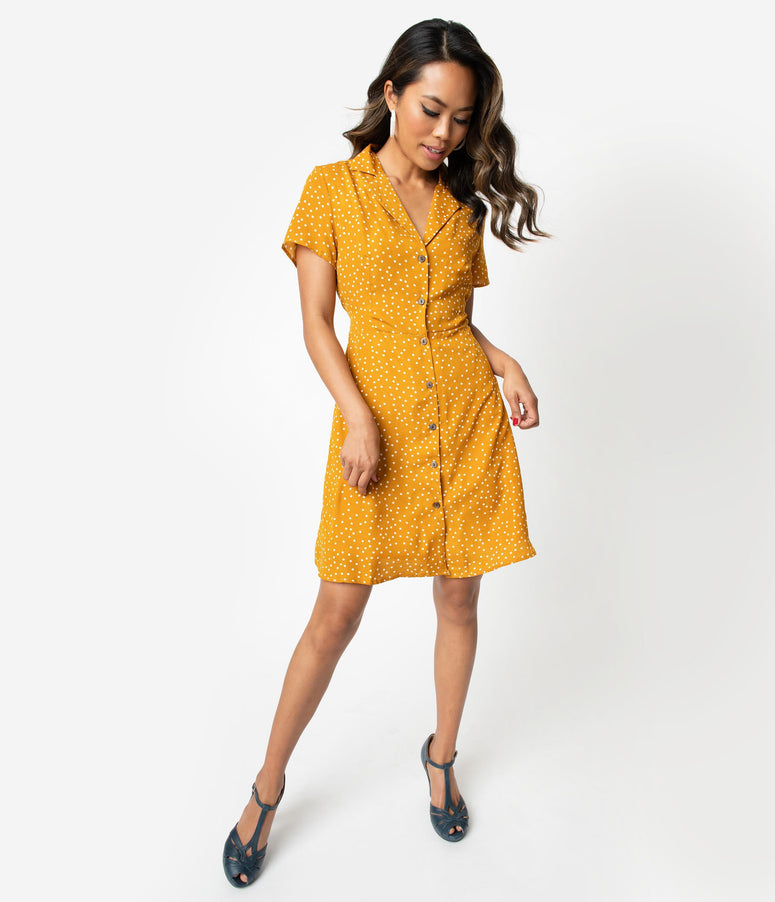 7aa40337466 Retro Style Mustard Yellow   White Polka Dot Short Sleeve Shirtdress