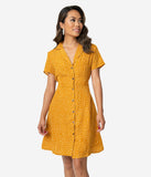 Retro Style Mustard Yellow & White Polka Dot Short Sleeve Shirtdress