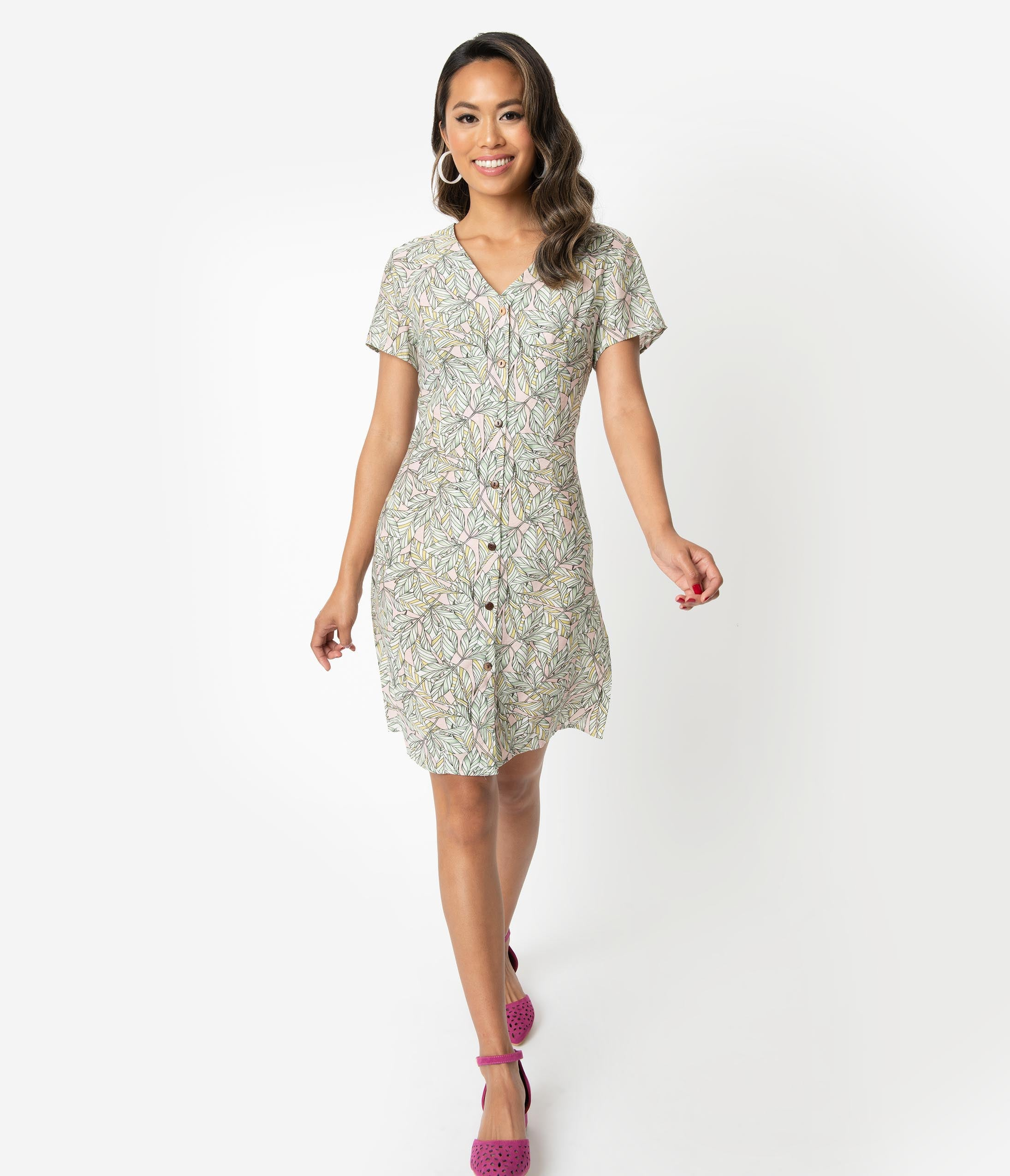 A-line V-neck Short Sleeves Sleeves Above the Knee Button Front Darts General Print Shirt Dress