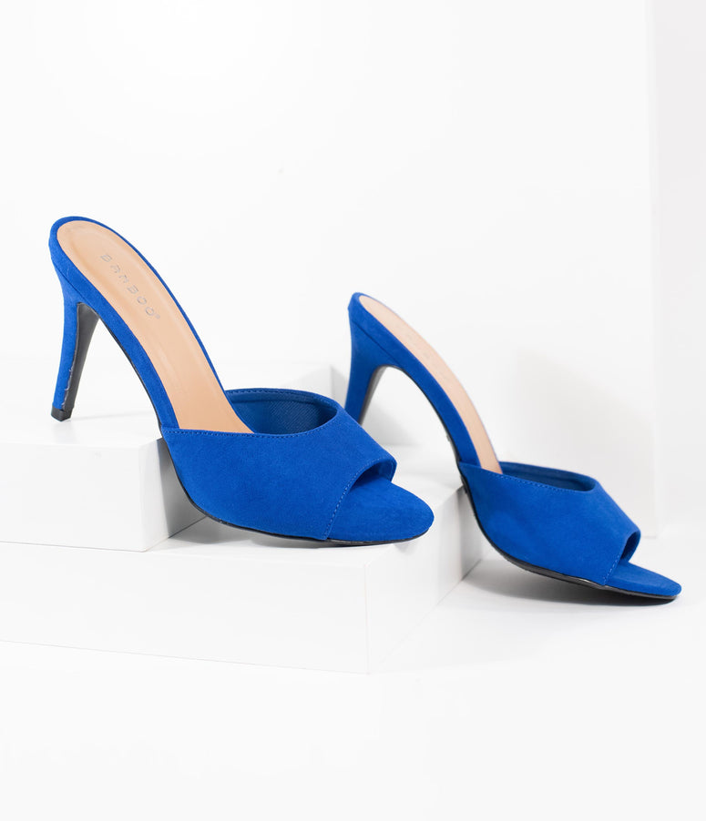 Retro Style Neon Blue Suede Peep Toe Manners Mule