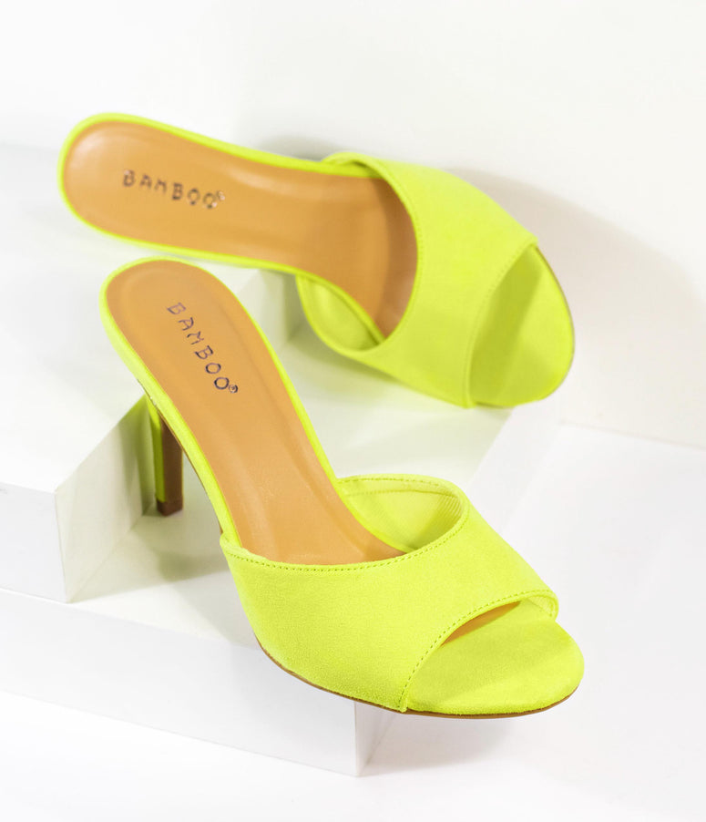 Retro Style Neon Yellow Suede Peep Toe Manners Mule
