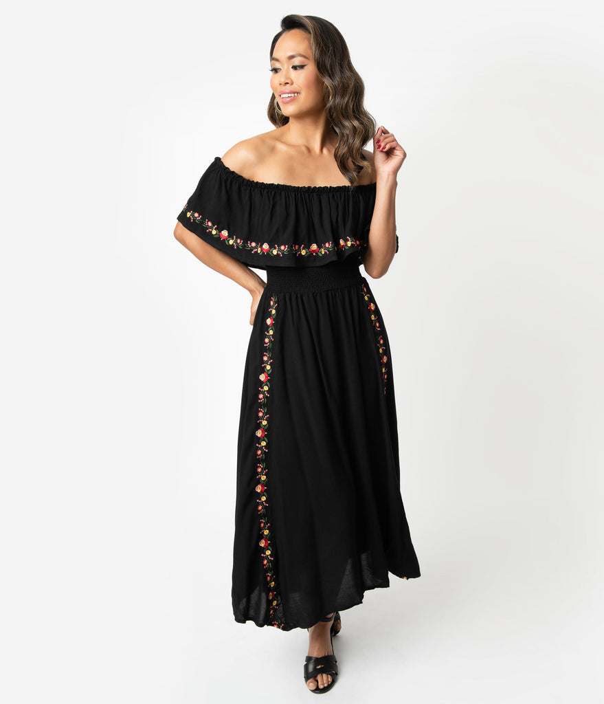 Retro Style Black Embroidered Florals Off Shoulder Ruffle Midi Dress