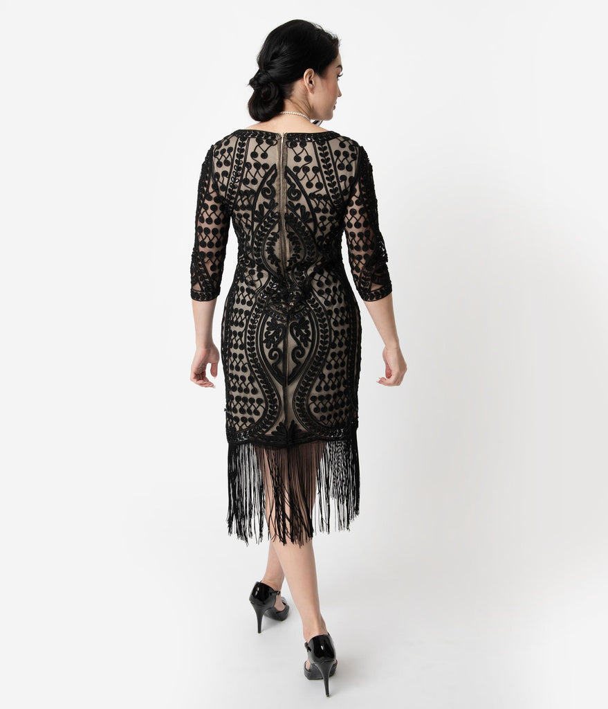 Unique Vintage Beige & Black Embroidered Deco Eugenia Fringe Flapper Dress