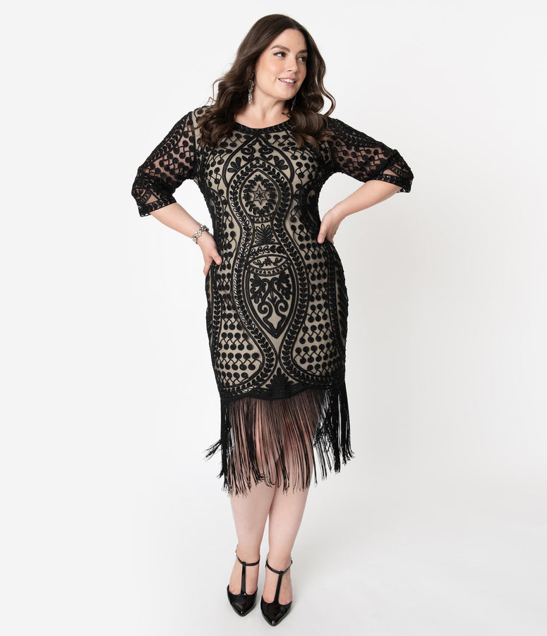 Unique Vintage Plus Size Beige & Black Embroidered Deco Eugenia Fringe Flapper Dress