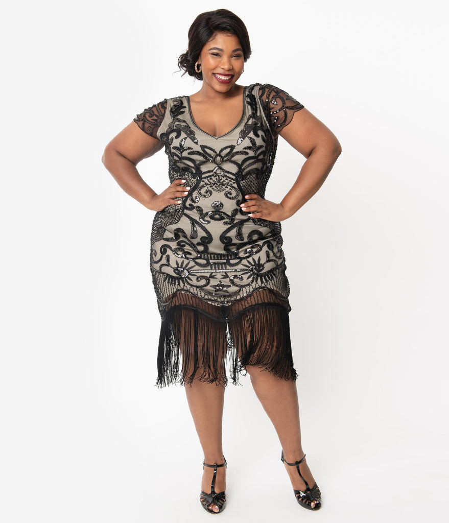 Unique Vintage Plus Size 1920s Beige & Black Beaded Aurore Flapper Dress