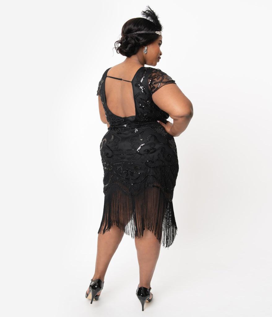 Unique Vintage Plus Size 1920s Black Beaded Fringe Aurore Flapper Dress
