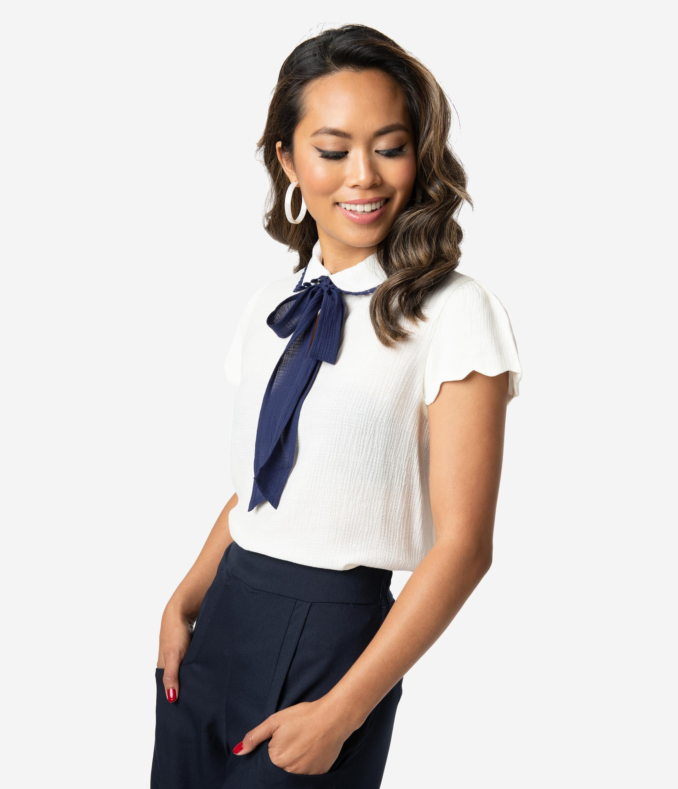 5329068fb0629c Women's 70s Shirts, Blouses, Hippie Tops Ivory Navy Blue Woven Bow Tie  Short Sleeve