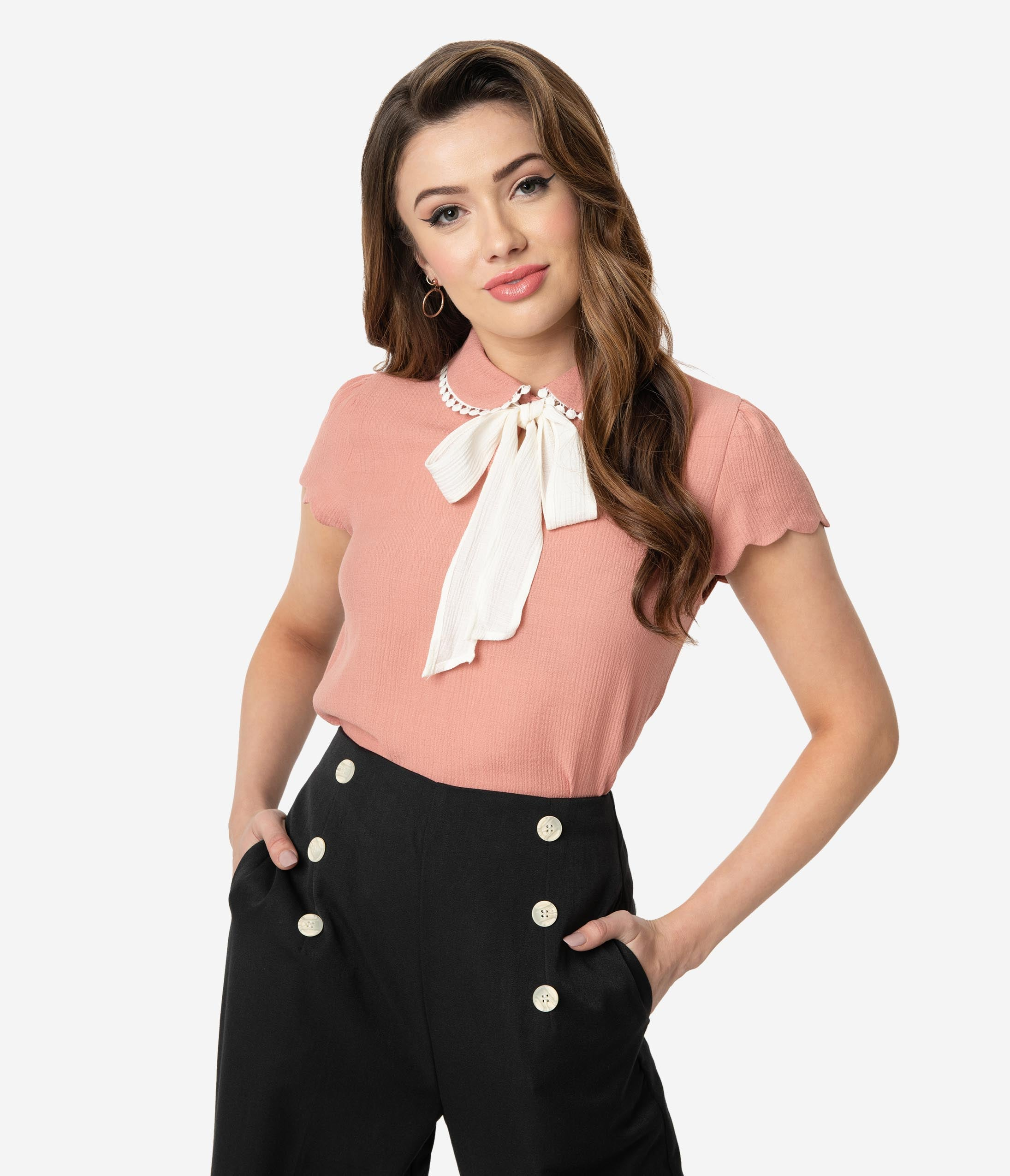 Vintage & Retro Shirts, Halter Tops, Blouses Salmon Pink  Ivory White Woven Bow Tie Short Sleeve Blouse $36.00 AT vintagedancer.com