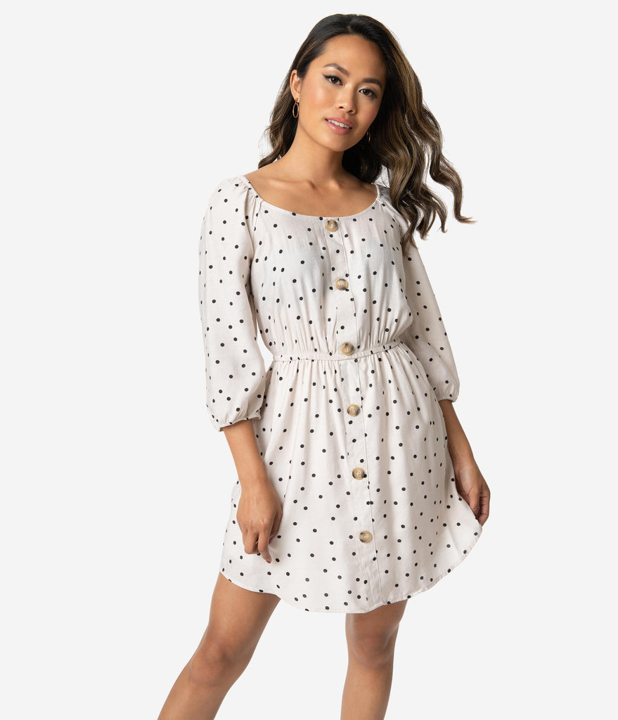 Retro Style Light Grey & Black Polka Dot Sleeved Fit & Flare Dress