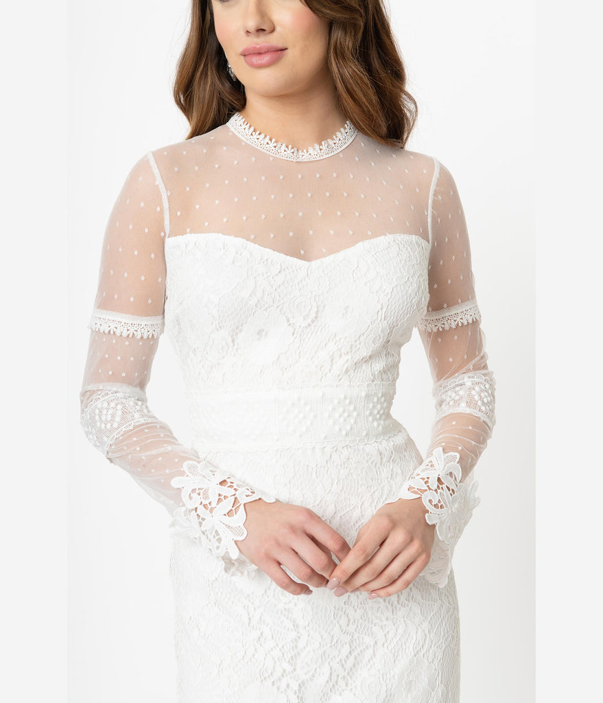 88489731701c9 Vintage Style Ivory Lace & Mesh Long Sleeve Wiggle Dress – Unique ...