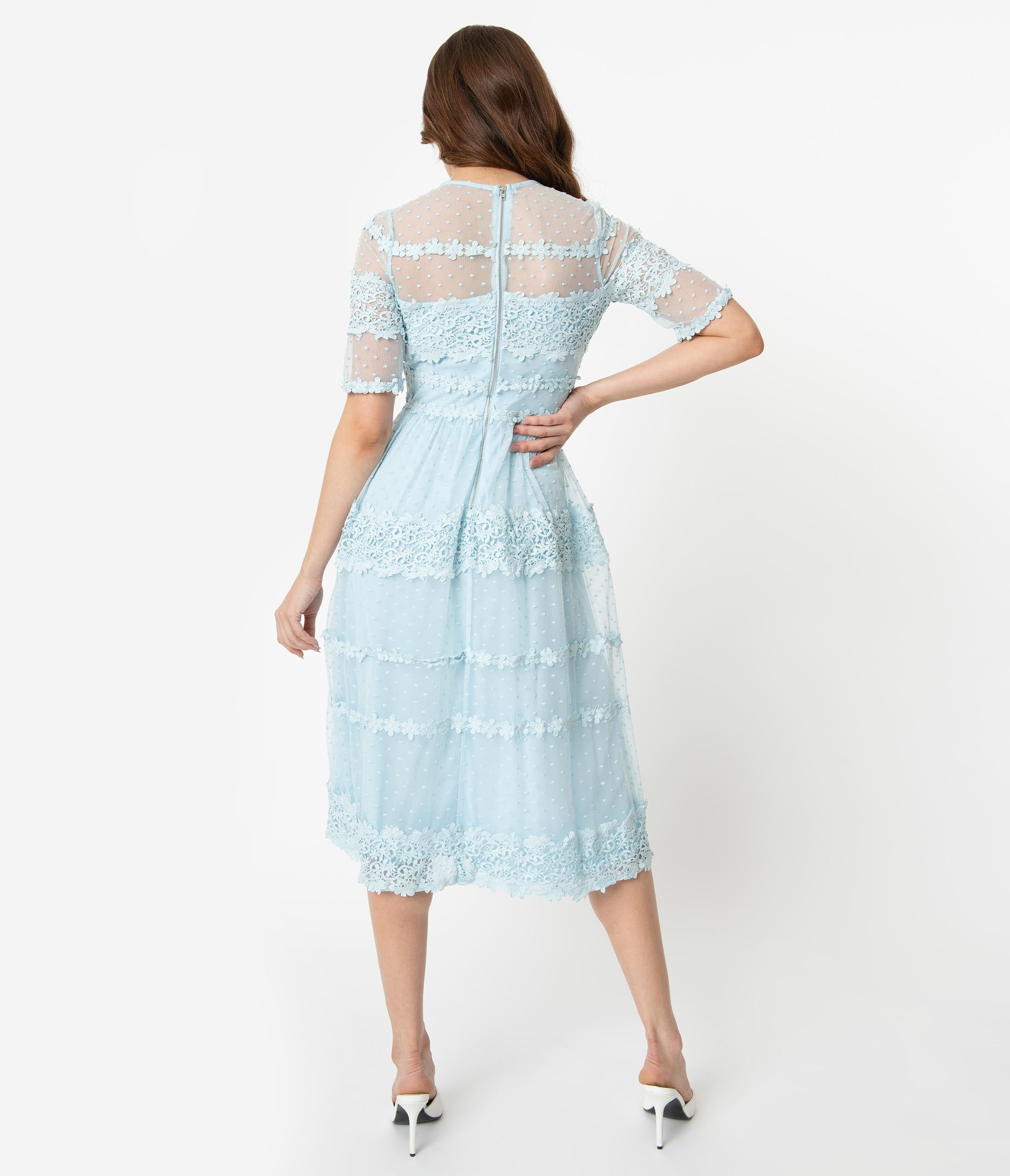 7bc5905591dbb Vintage Style Light Blue Swiss Dot & Lace Illusion Neckline Midi Dress.  $68.00. Ivory Lace & Beige Illusion Neckline Long Sleeved Fitted ...