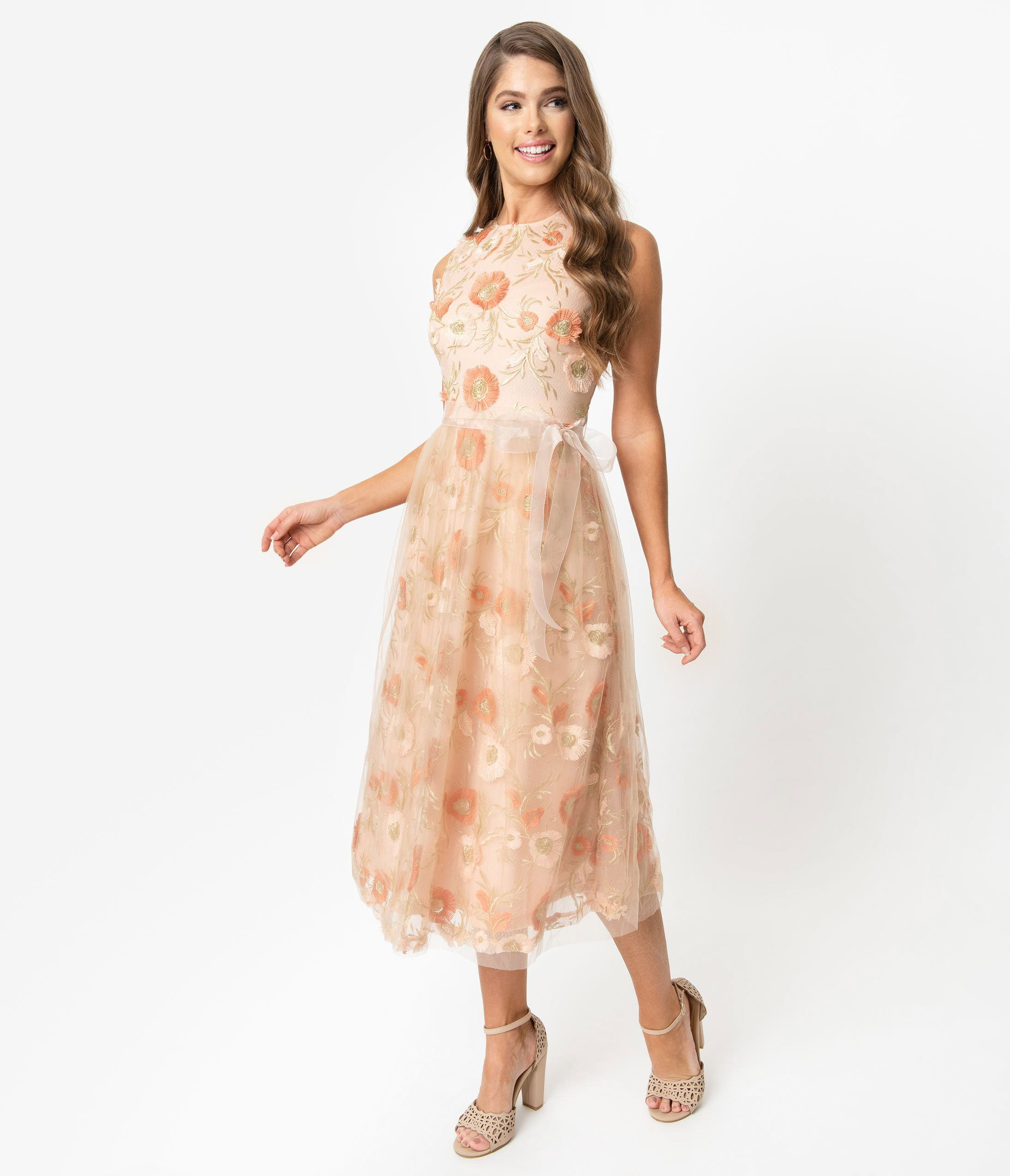 Vintage Evening Dresses and Formal Evening Gowns Vintage Style Peach  Gold Embroidered Floral Mesh Sleeveless Swing Dress $78.00 AT vintagedancer.com