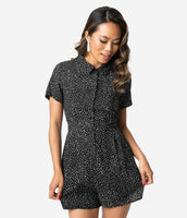Modest Vintage Button Front Pleated Polka Dots Print Short Sleeves Sleeves Collared Romper