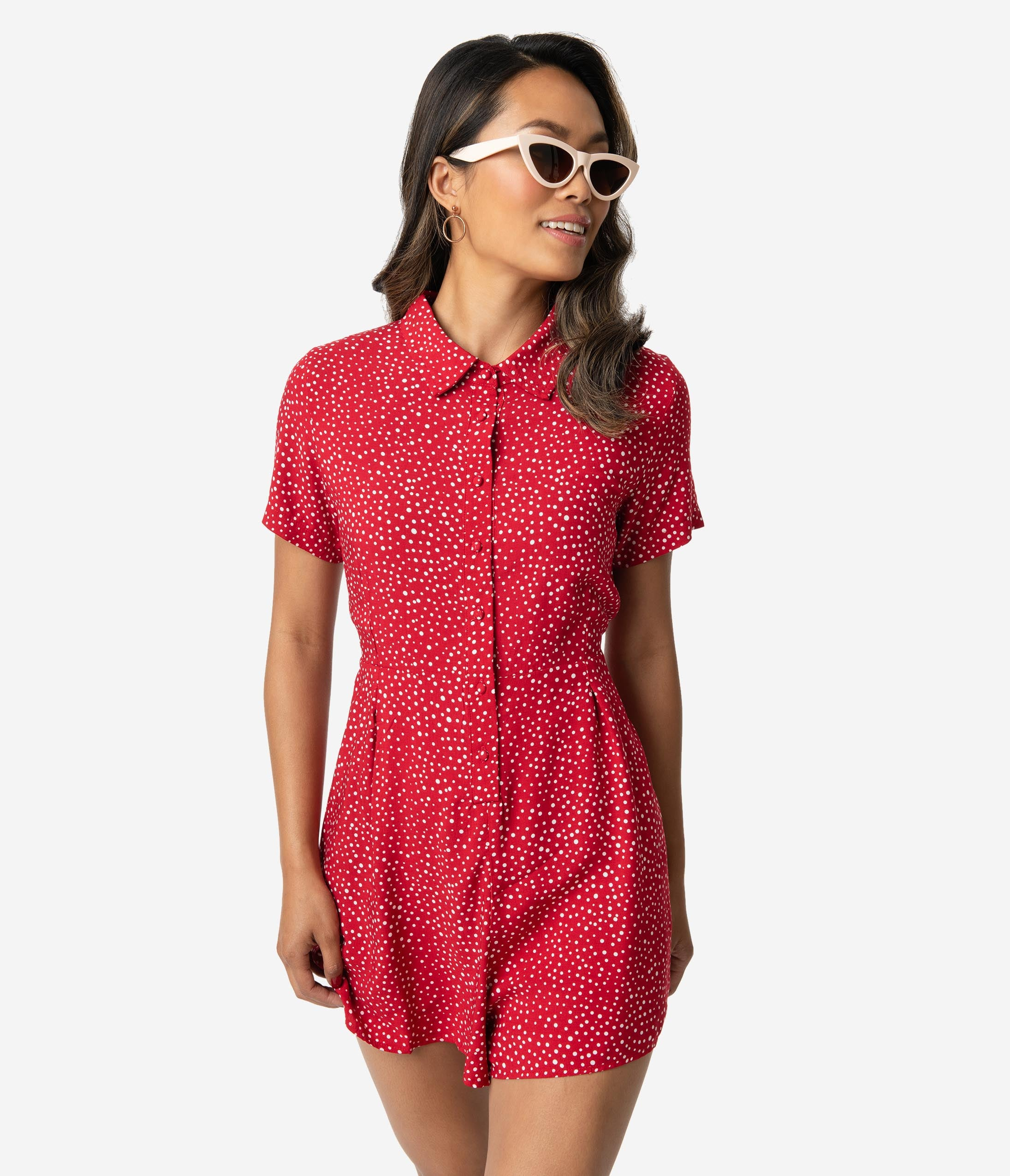 Vintage Rompers, Playsuits | Retro, Pin Up, Rockabilly Playsuits 1950S Style Red  White Polka Dot Print Short Sleeve Romper $42.00 AT vintagedancer.com