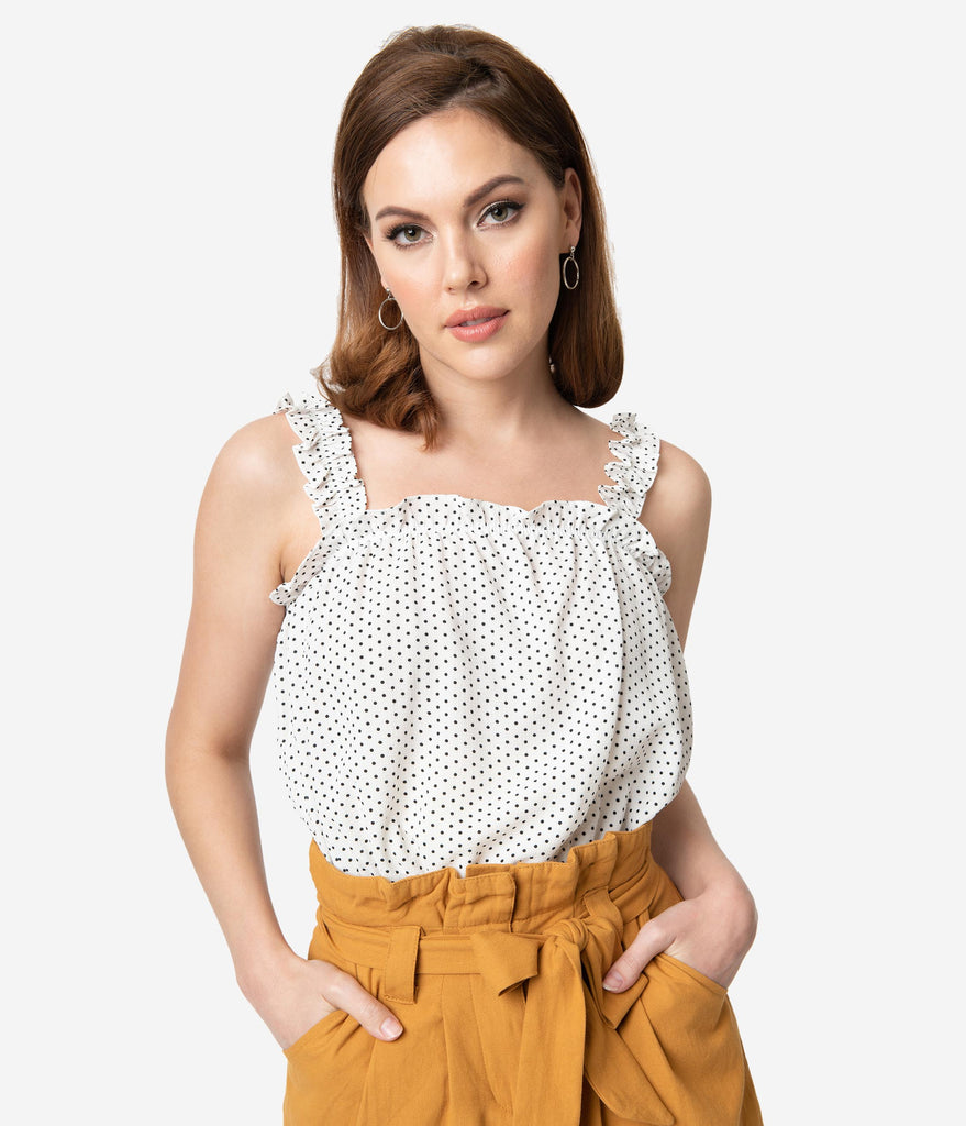 Off White & Black Polka Dot Crepe Ruffle Crop Top