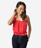 Red & White Polka Dot Crepe Ruffle Crop Top