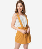 Retro Style Mustard Yellow Paper Bag Suspender Mini Skirt