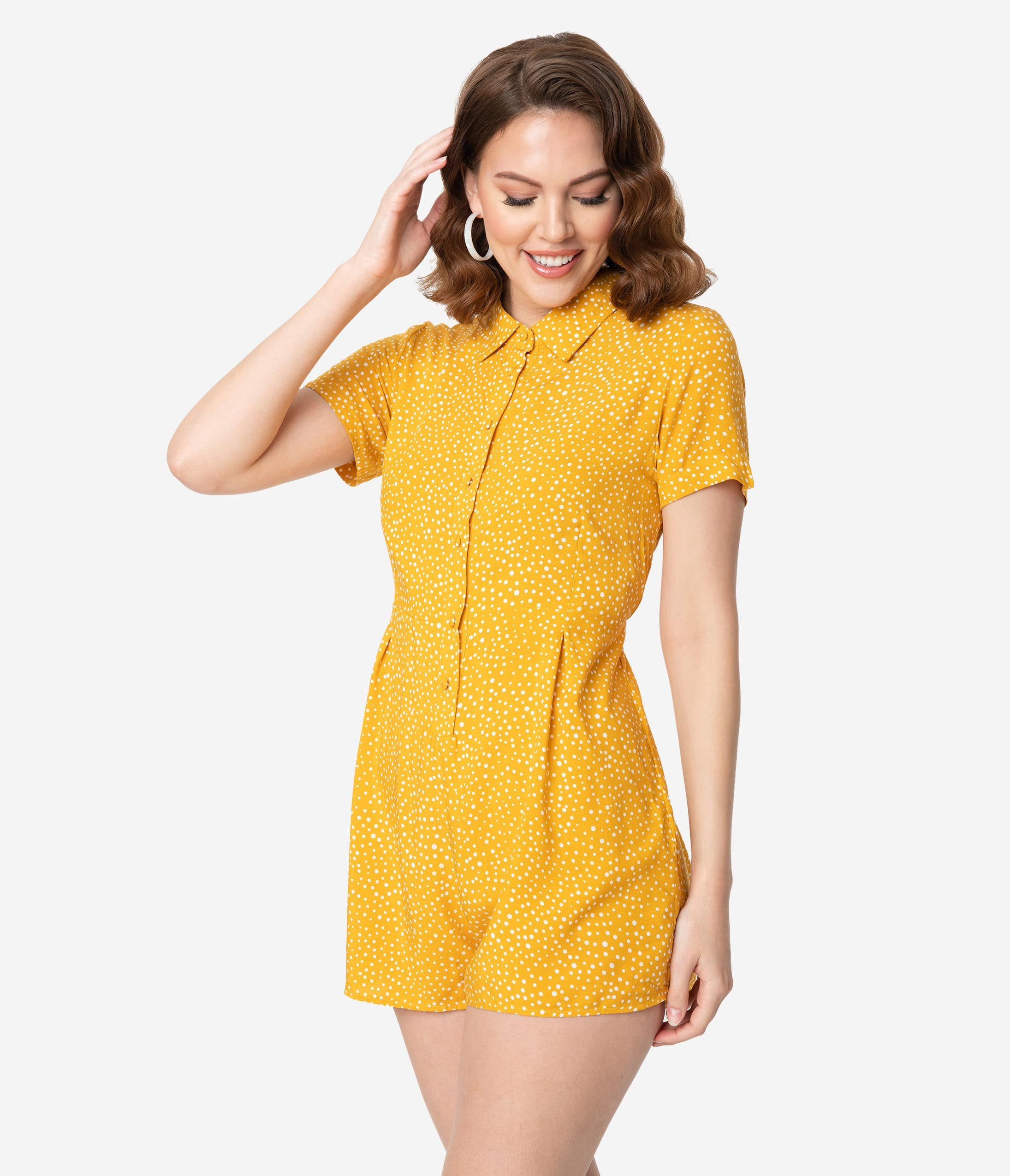 Vintage Rompers, Playsuits | Retro, Pin Up, Rockabilly Playsuits 1950S Style Mustard Yellow  White Polka Dot Print Short Sleeve Romper $42.00 AT vintagedancer.com
