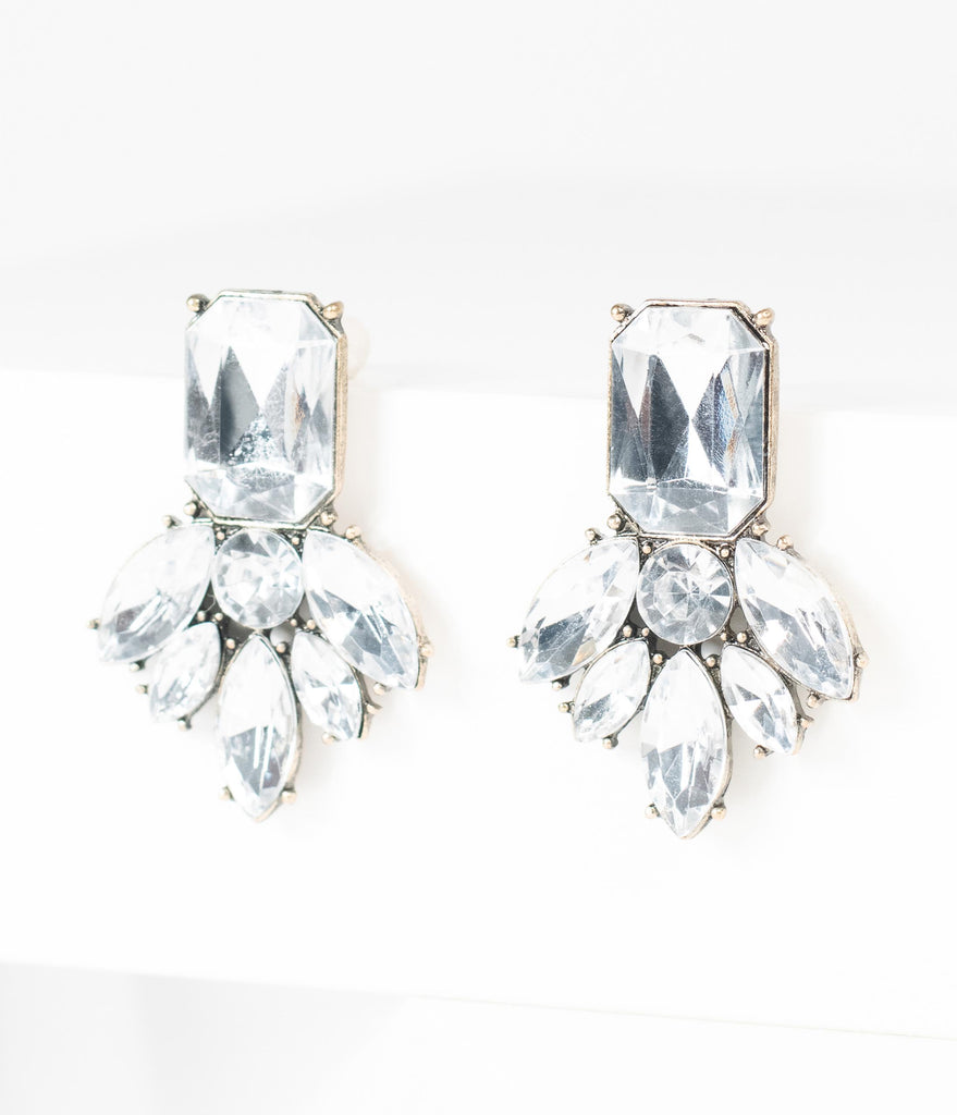 Vintage Style Silver Crystal Cluster Deco Earrings