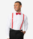 Vintage Style Red & White Polka Dot Suspender & Bow Tie Set