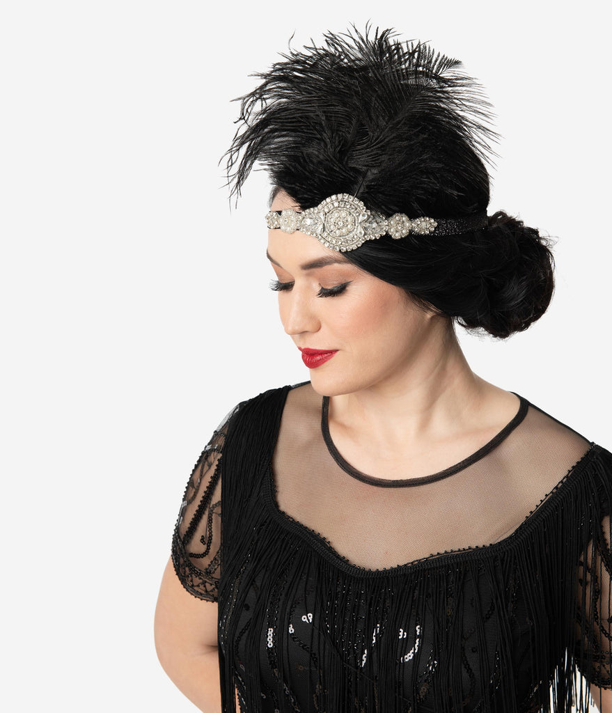 Unique Vintage Black Feathers & Silver Crystal Beaded Flapper Headband