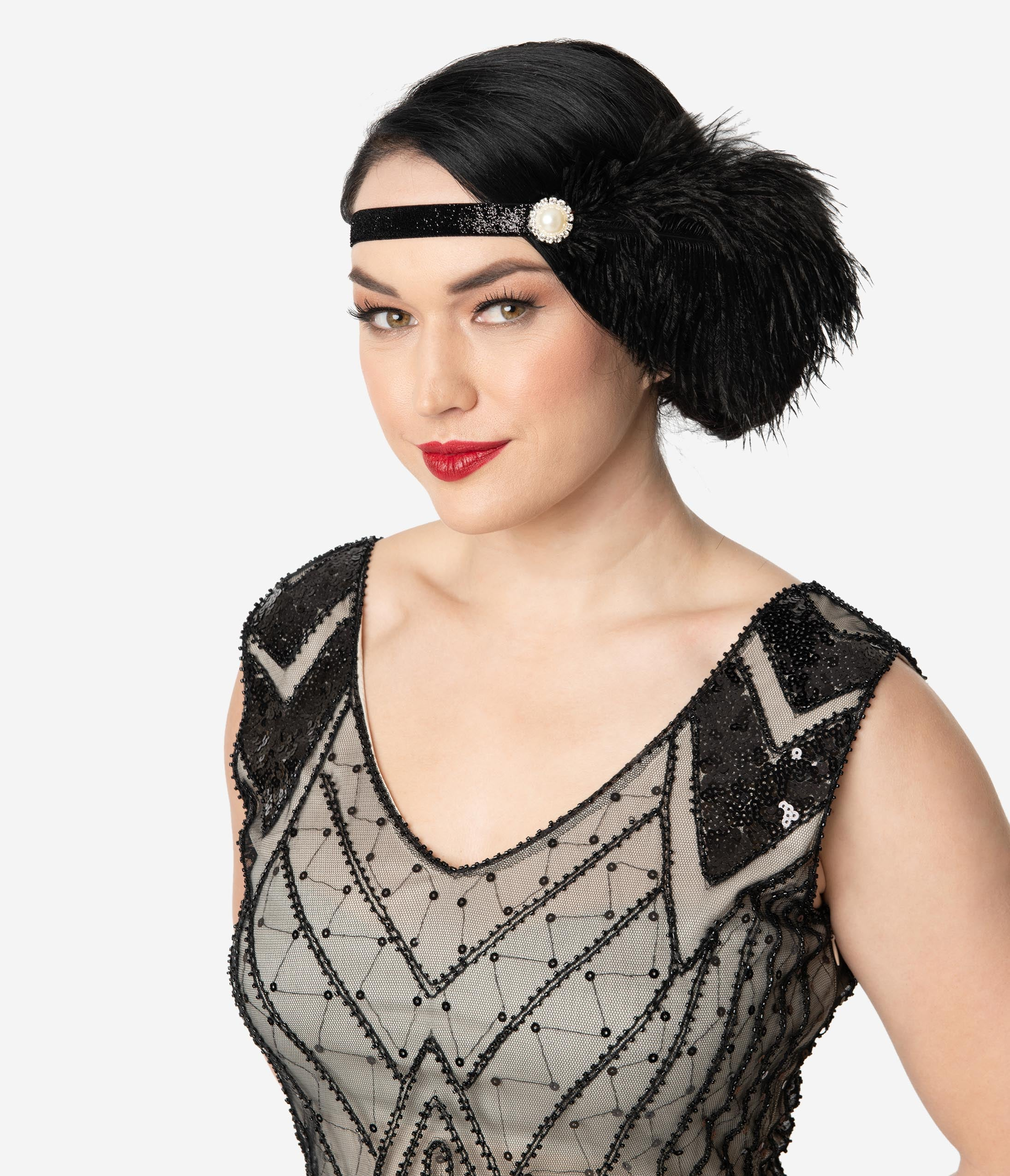 1920s Fashion & Clothing | Roaring 20s Attire Unique Vintage Black Feather  Ivory Pearl Rhinestone Flapper Headband $28.00 AT vintagedancer.com