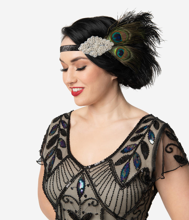 Unique Vintage Black & Peacock Feather Silver Rhinestone Flapper Headband