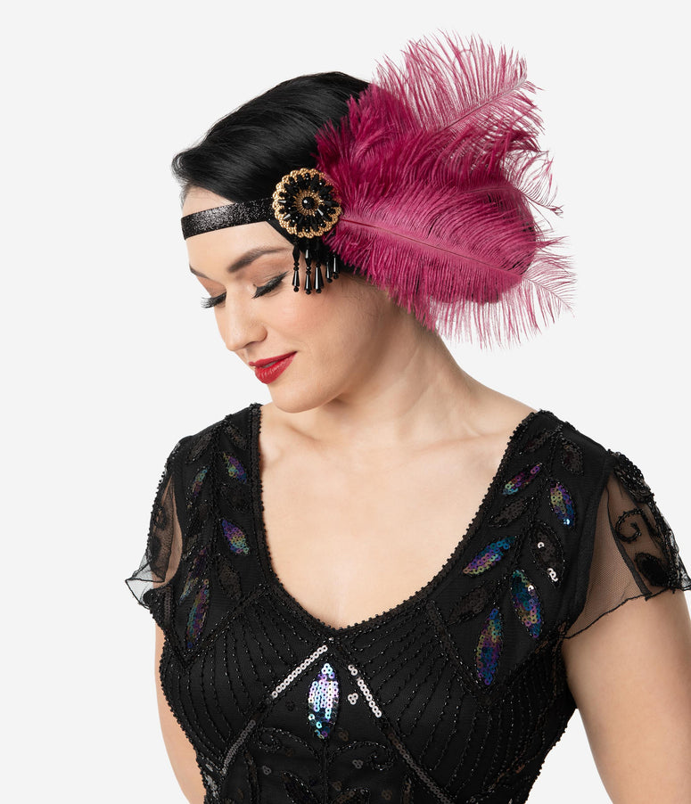 Unique Vintage Magenta Feathers & Black Beaded Tassel Flapper Headband