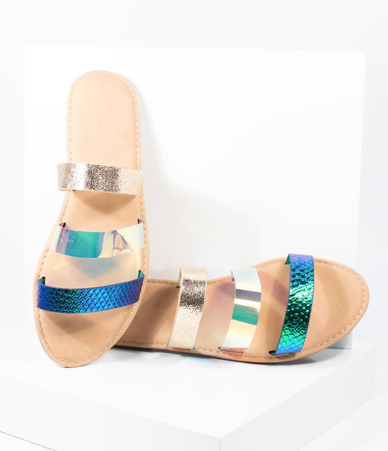 Mermaid Metallic Shoreline Flat Sandal