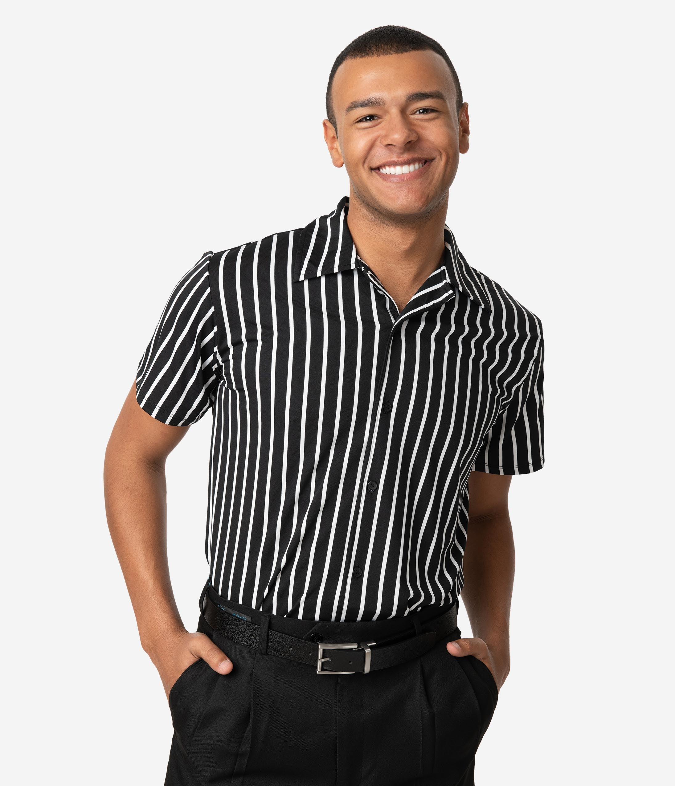 1960s – 70s Mens Shirts- Disco Shirts, Hippie Shirts Vintage Style Black  White Stripe Button Up Mens Shirt $32.00 AT vintagedancer.com