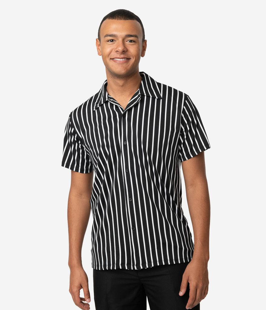 1950s Men's Clothing Vintage Style Black  White Stripe Button Up Mens Shirt $32.00 AT vintagedancer.com