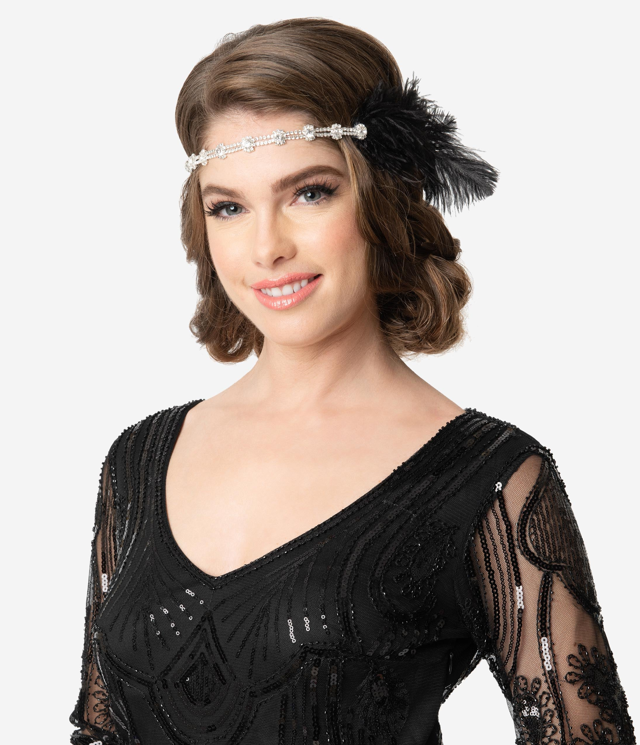 1920s Flapper Headband, Gatsby Headpiece, Wigs Black Feather  Silver Rhinestone Margo Flapper Headband $34.00 AT vintagedancer.com