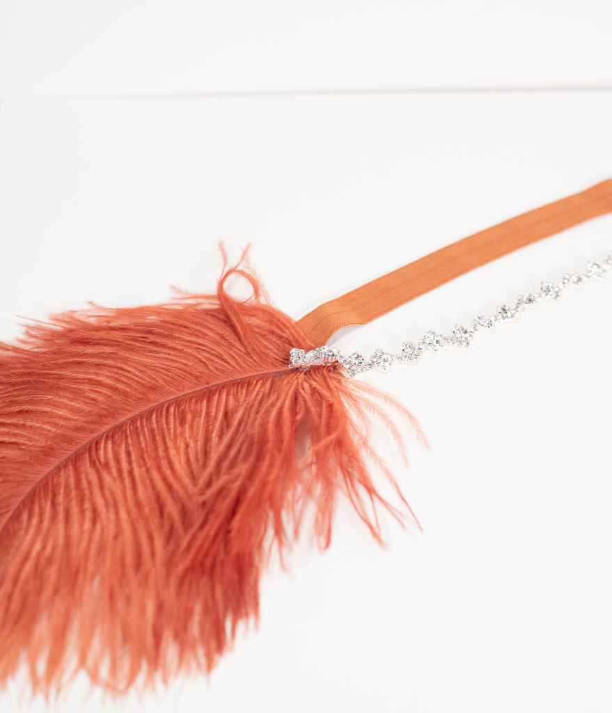 1920s Style Copper Ostrich Feather & Crystal Plumette Headband
