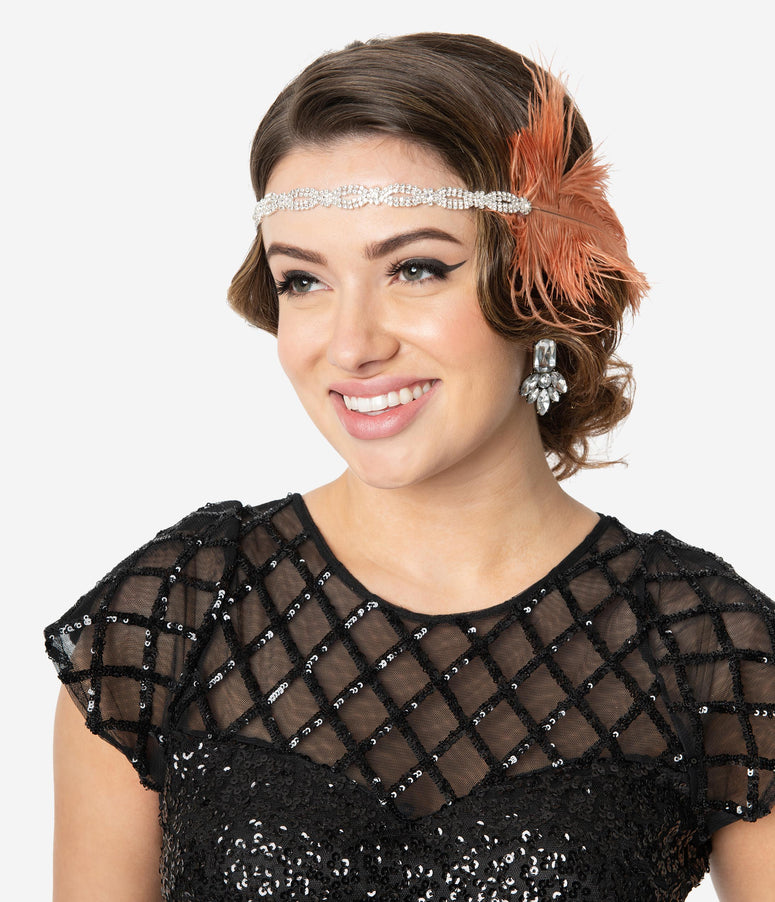 Coral Feather & Silver Rhinestone Twist Michelle Flapper Headband