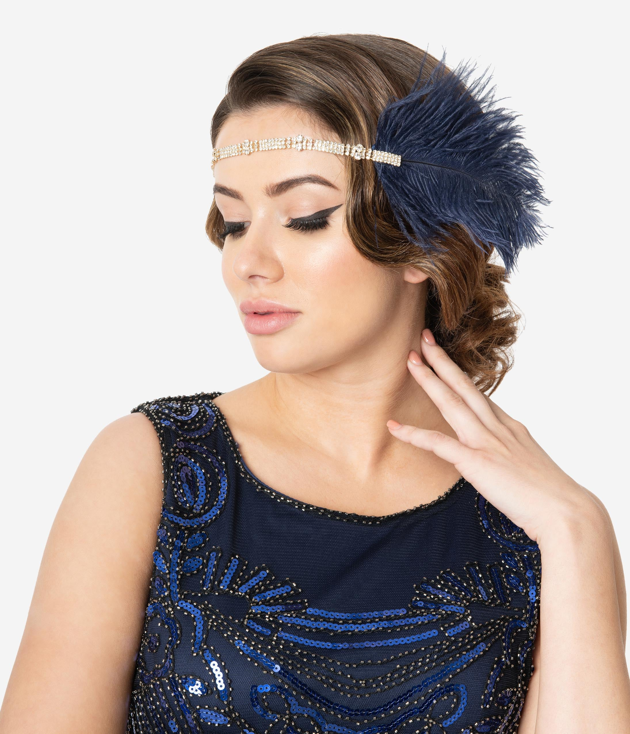 1920s Flapper Headband, Gatsby Headpiece, Wigs Navy Blue Feather  Silver Rhinestone Anastasia Flapper Headband $34.00 AT vintagedancer.com