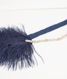 Navy Blue Feather & Silver Rhinestone Anastasia Flapper Headband