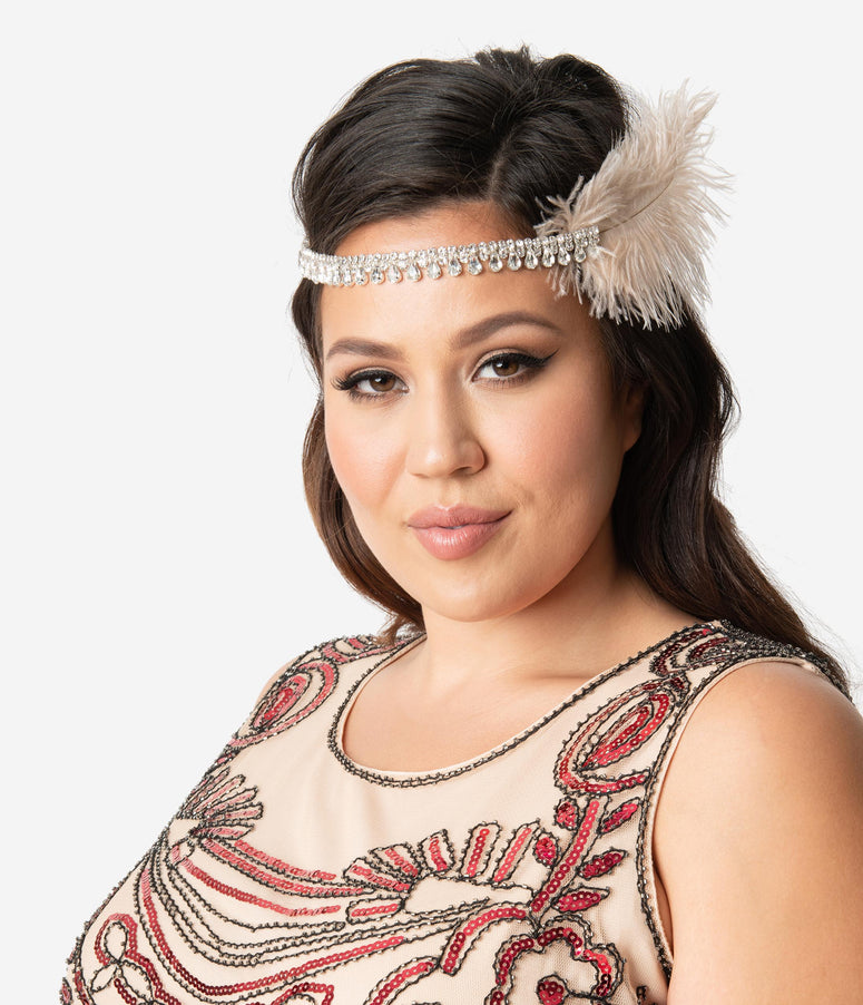 Beige Feather & Silver Teardrop Rhinestone Olivia Flapper Headband
