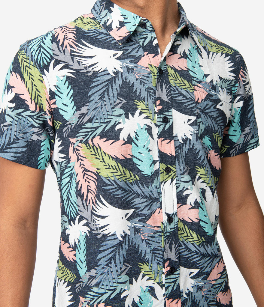Vintage Style Navy & Multicolor Tropical Leaf Print Button Up Mens Shirt