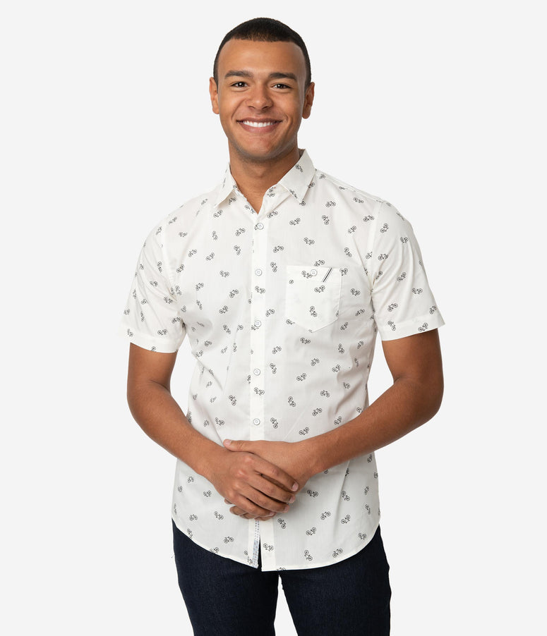 cfd709c3 Retro Style White Bicycle Print Button Up Mens Shirt