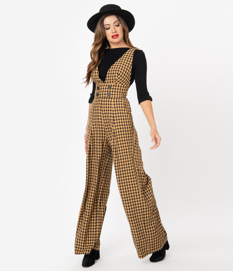 Voodoo Vixen 1960s Tan & Black Gingham Wide Leg Overall Jumpsuit