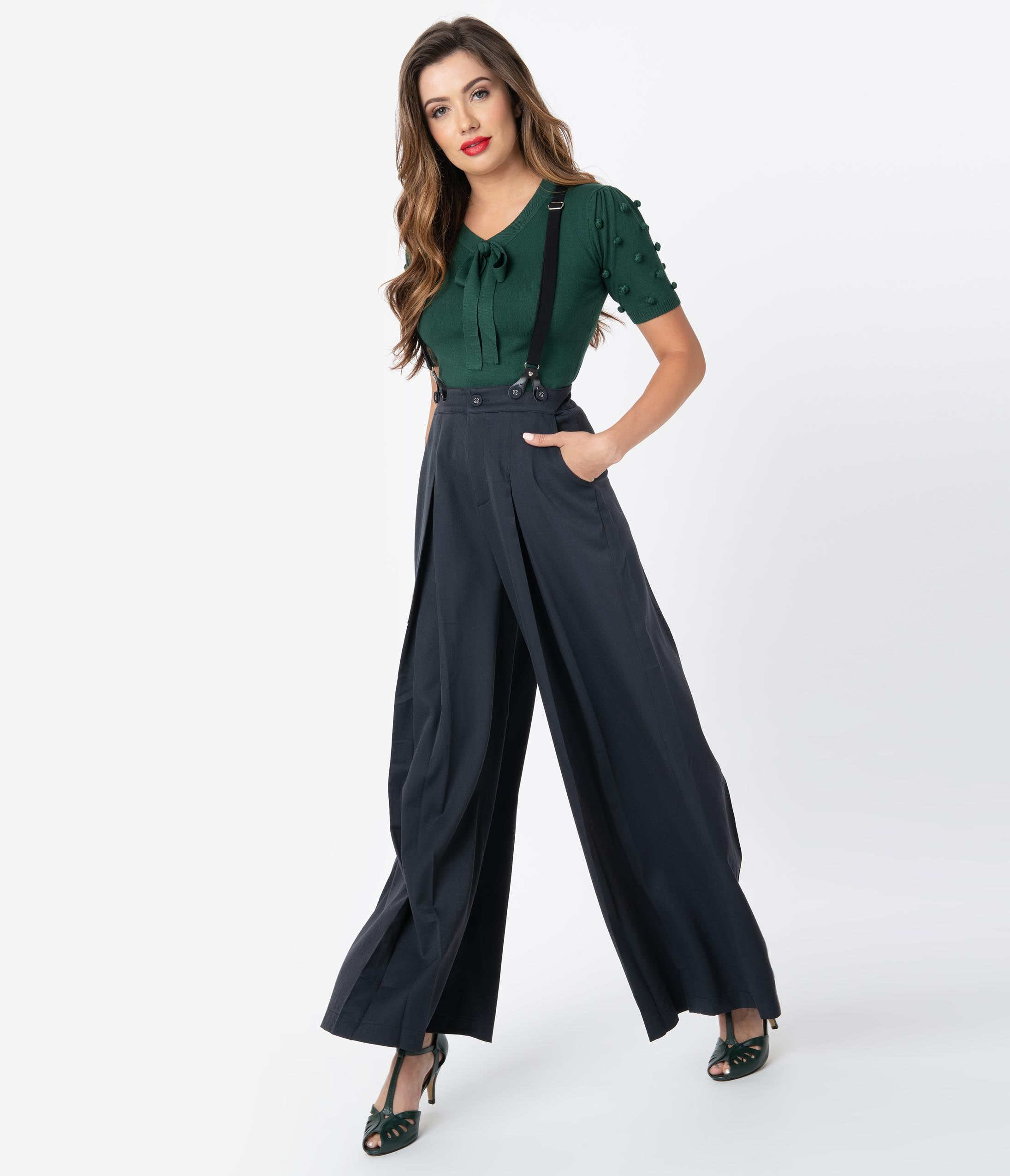 Vintage High Waisted Trousers, Sailor Pants, Jeans Voodoo Vixen 1940S Style Navy Wide Leg Pleated Suspender Trousers $62.00 AT vintagedancer.com