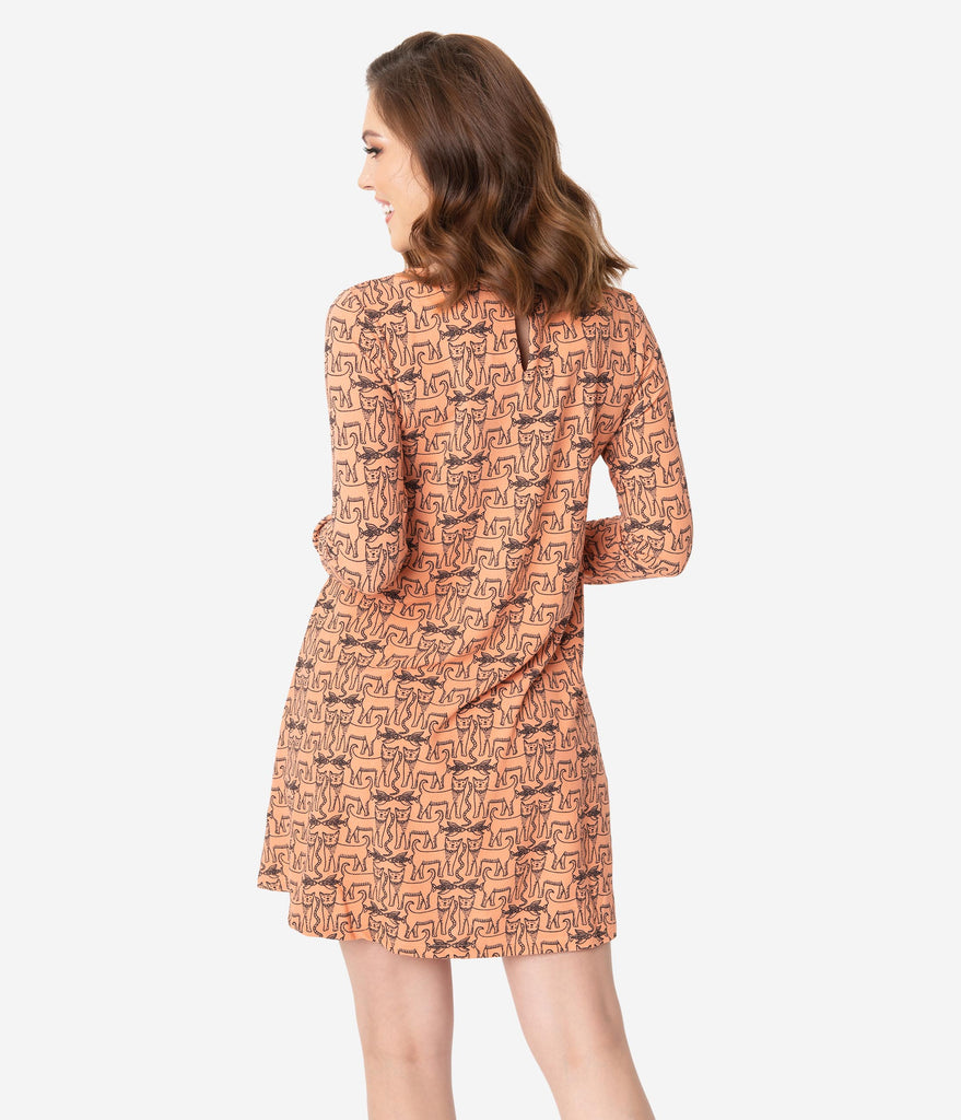 Retro Style Coral Cat Print Long Sleeve Shift Dress
