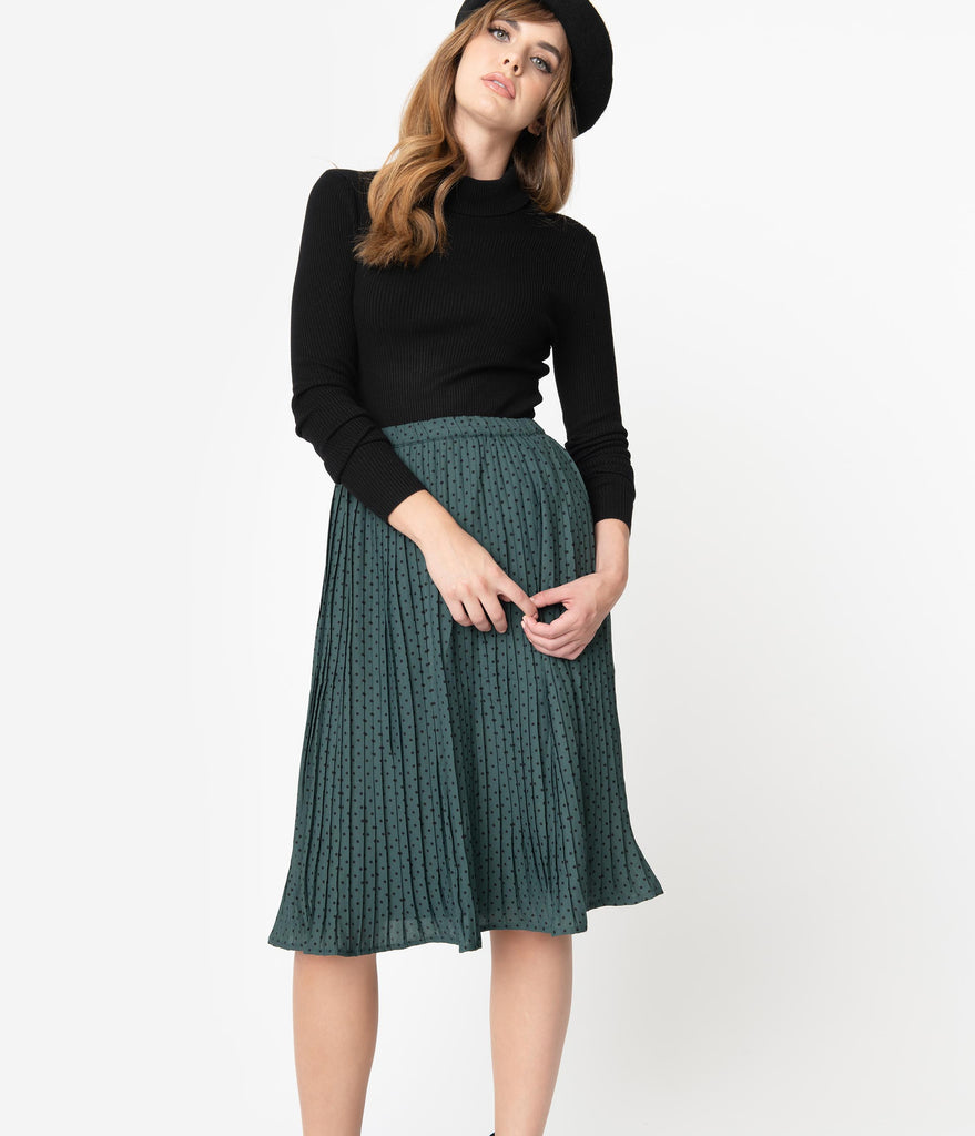 1940s Style Emerald Green & Black Pin Dot Pleated Skirt