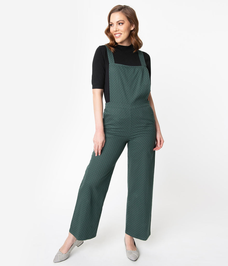 Retro Style Emerald Green & Black Pin Dot Cotton Overalls
