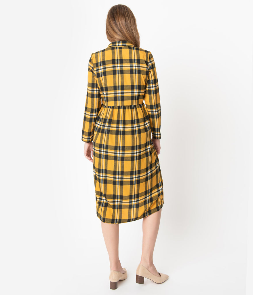 Retro Style Mustard & Black Plaid Sleeved Midi Dress
