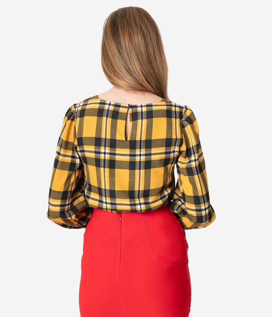 Retro Style Mustard & Black Plaid Sleeved Blouse